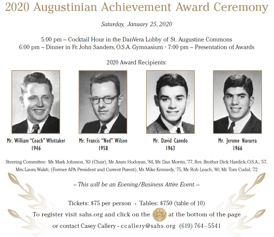 2020 Augustinian Achievement Award Ceremony @ St. Augustine High School - Commons